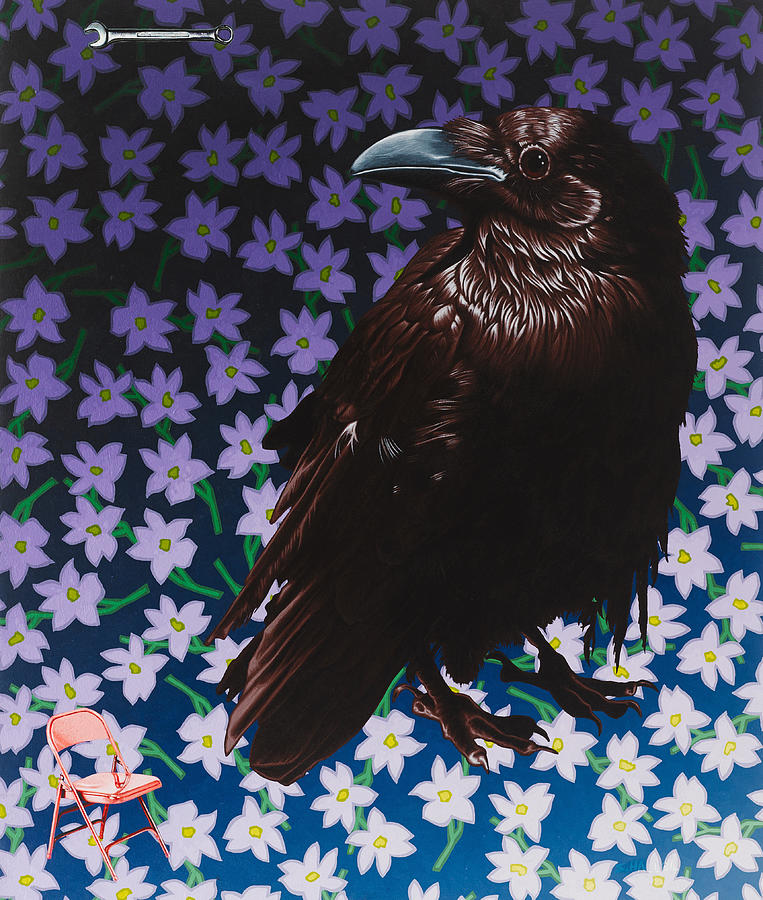 Crow Painting - Portrait of a Pink Chair by Stephen Hall