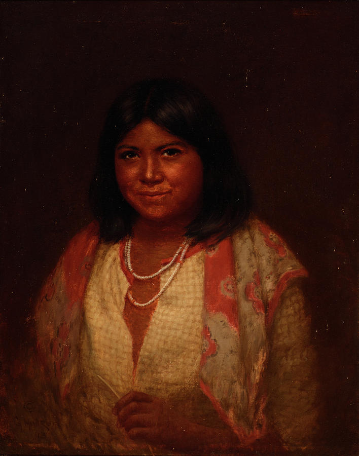 Feathers Painting - Portrait Of A Pomo Matron by Grace Carpenter Hudson