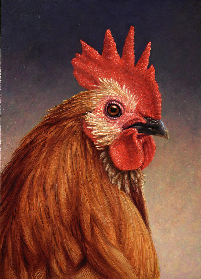 Rooster Painting - Portrait Of A Rooster by James W Johnson