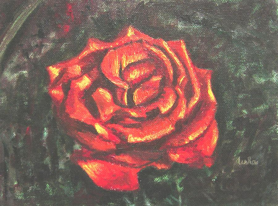 Red Painting - Portrait Of A Rose 2 by Usha Shantharam