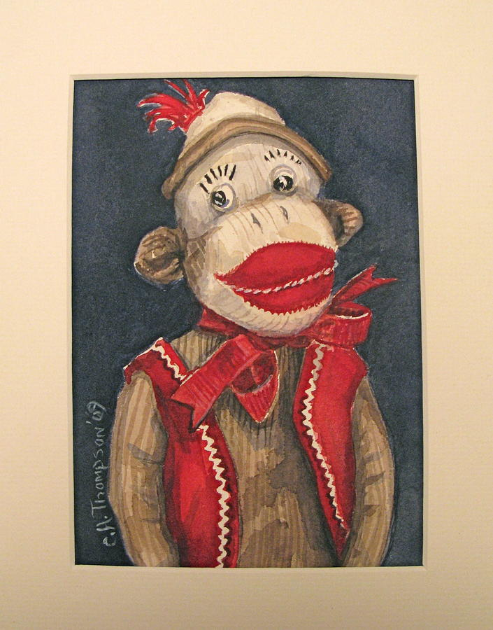 Portrait Of A Very Fine Sockmonkey  Painting by Cheryl Anne Thompson