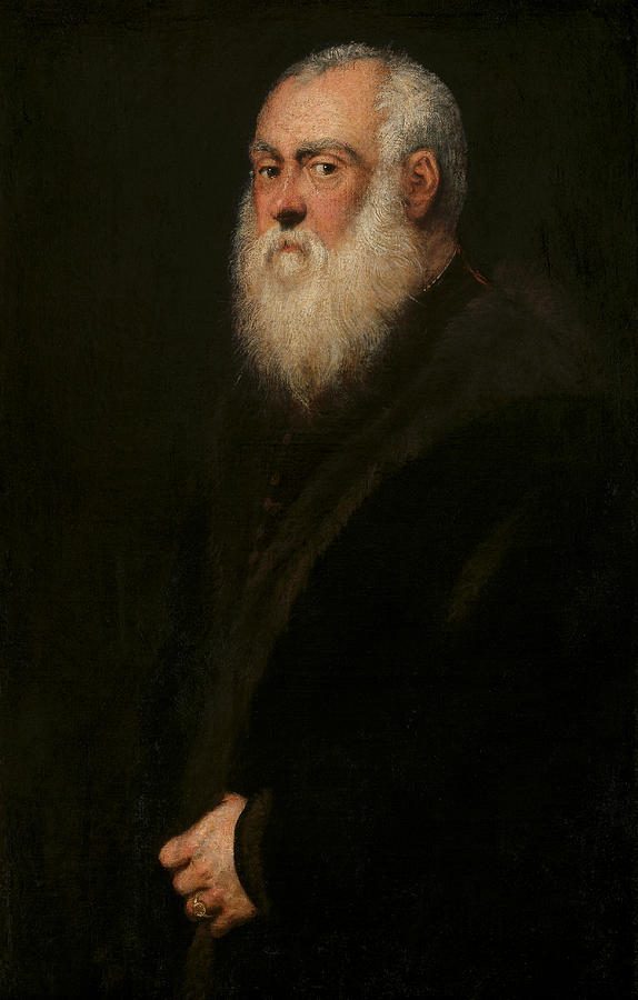 portrait of a white bearded man painting by tintoretto