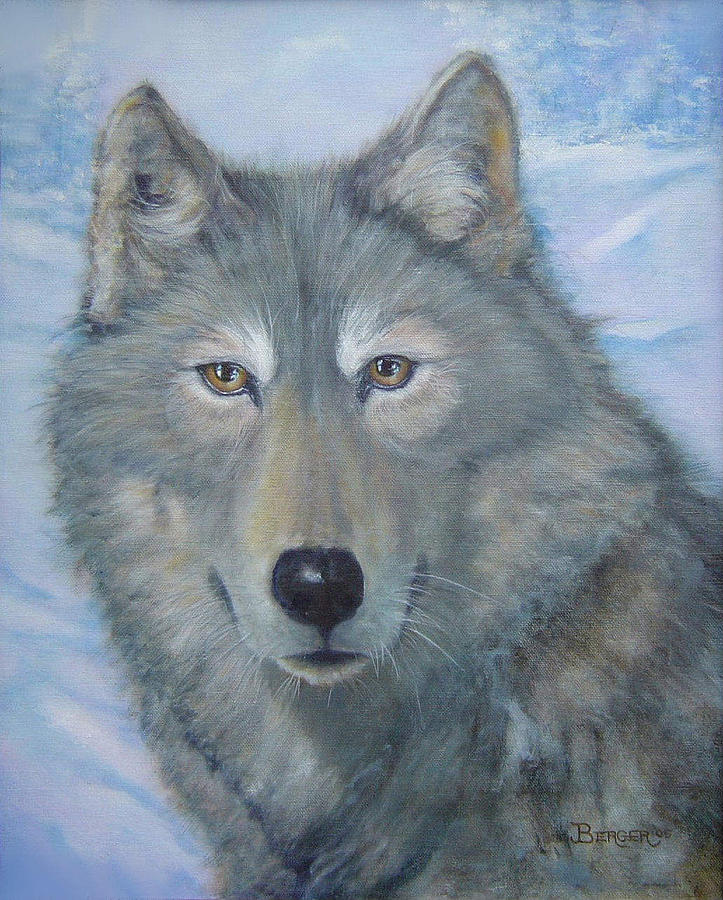 Wolf Painting - Portrait Of A Wolf by James Berger