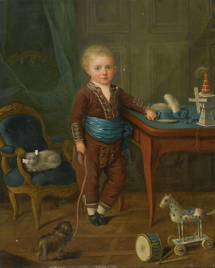 Portrait Of A Young Boy With His Toys Painting