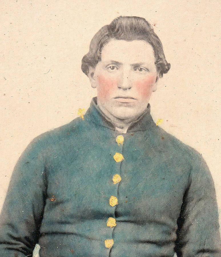 Man Painting - Portrait Of A Young  Civil War Soldier 3 by Celestial Images