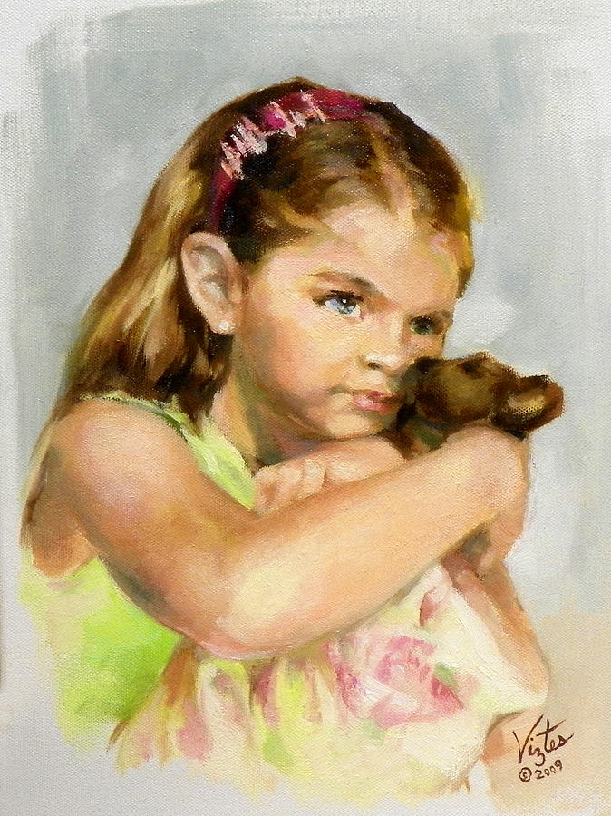 Portrait Painting - Portrait Of A Young Girl With Toy Bear by Liz Viztes