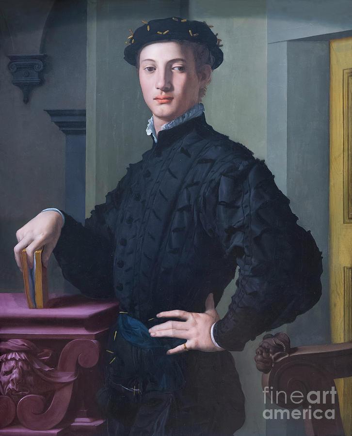 Agnolo Bronzino Photograph - Portrait Of A Young Man by Peter Barritt