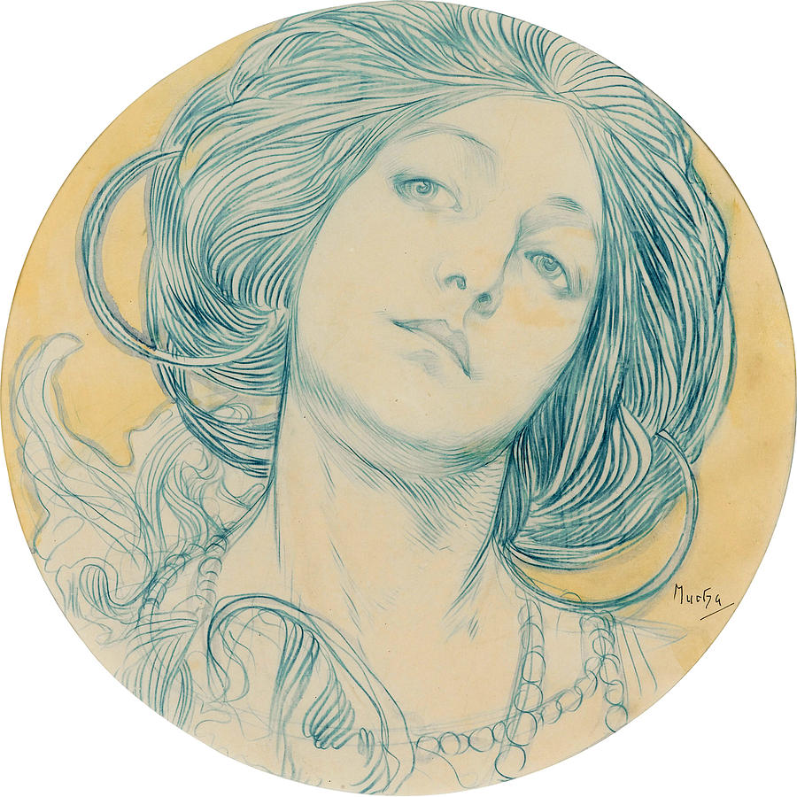 Portrait Of A Young Woman Drawing By Alphonse Mucha