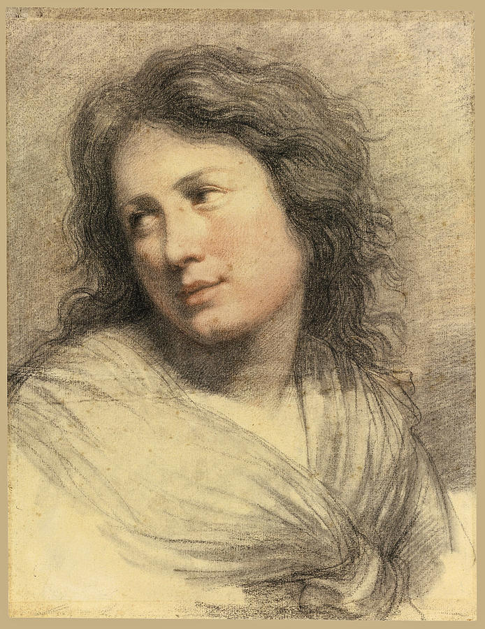 Canvas Prints Drawing - Portrait Of A Young Woman Looking Over Her Shoulder by Attributed to Francois-Andre Vincent