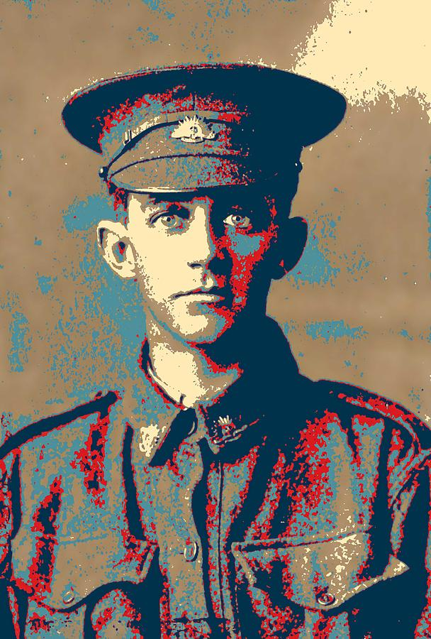 Man Painting - Portrait Of A Young  Wwi Soldier Series 19 by Celestial Images