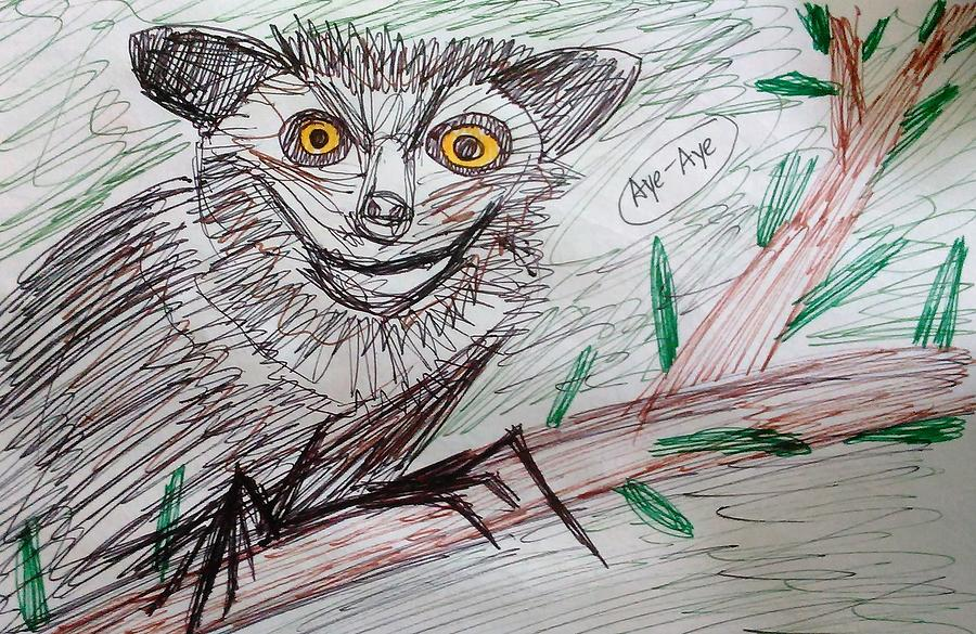 Aye Mixed Media - Portrait Of An Aye Aye by Andrew Blitman