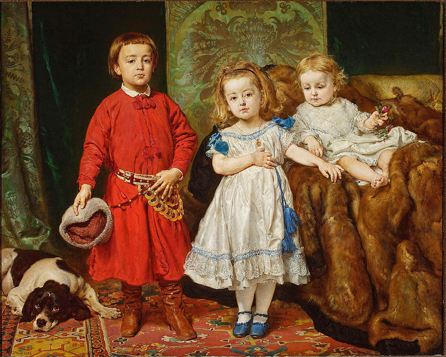 Jan Matejko Painting - Portrait of artists children. Tadeusz Helena and Beata by Jan Matejko