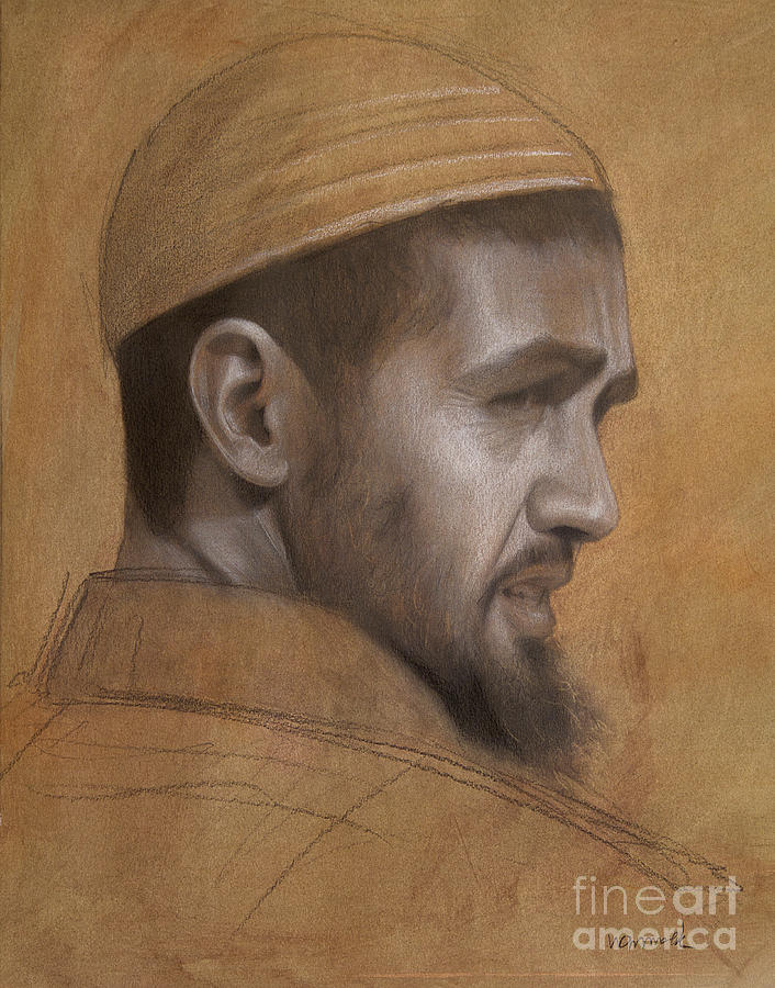 Graphite Drawing - Portrait of Berber Man by Jonathan Wommack