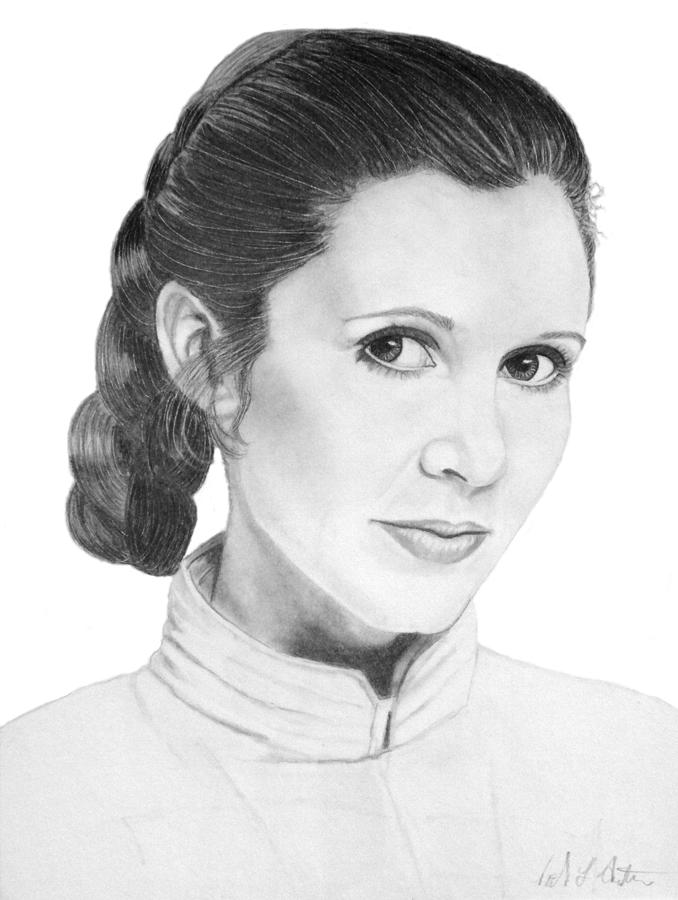 Star Wars Drawing - Portrait Of Carrie Fisher As Princess Leia by Nicole I Hamilton