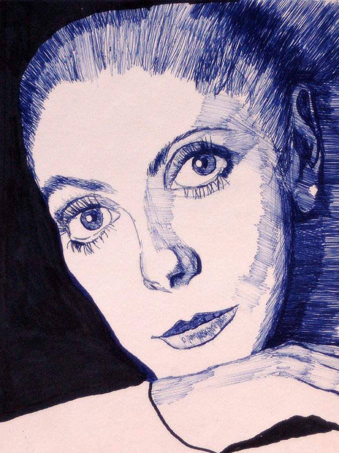Pen And Ink Mixed Media - Portrait Of Catherine by Robert Grubbs