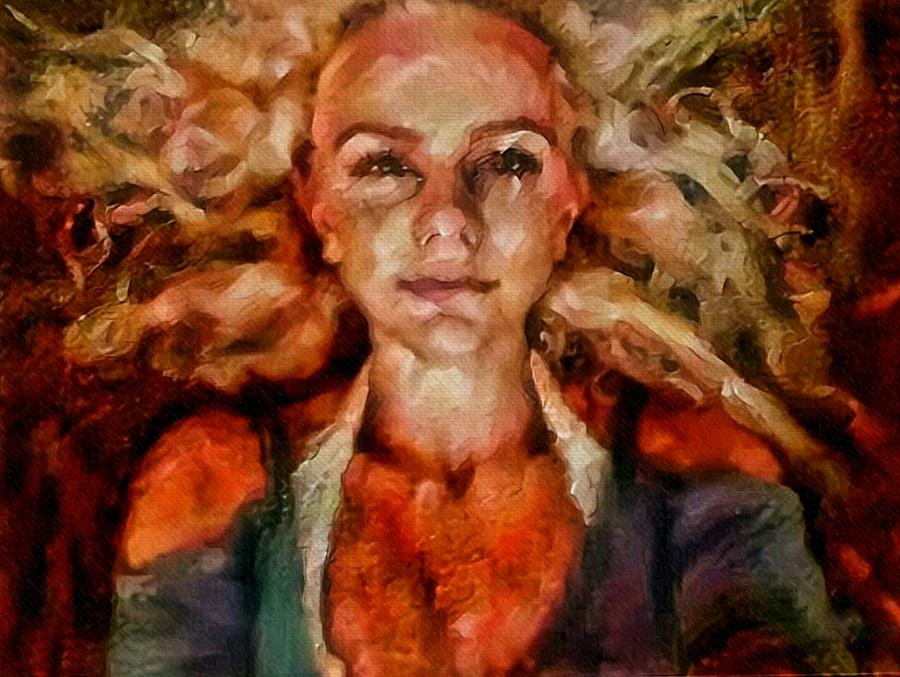Curls Painting - Portrait of female with hair billowing everywhere in radiant unsmiling sharp features golden warm colors and upturned nose curls and aliens of the departure by MendyZ