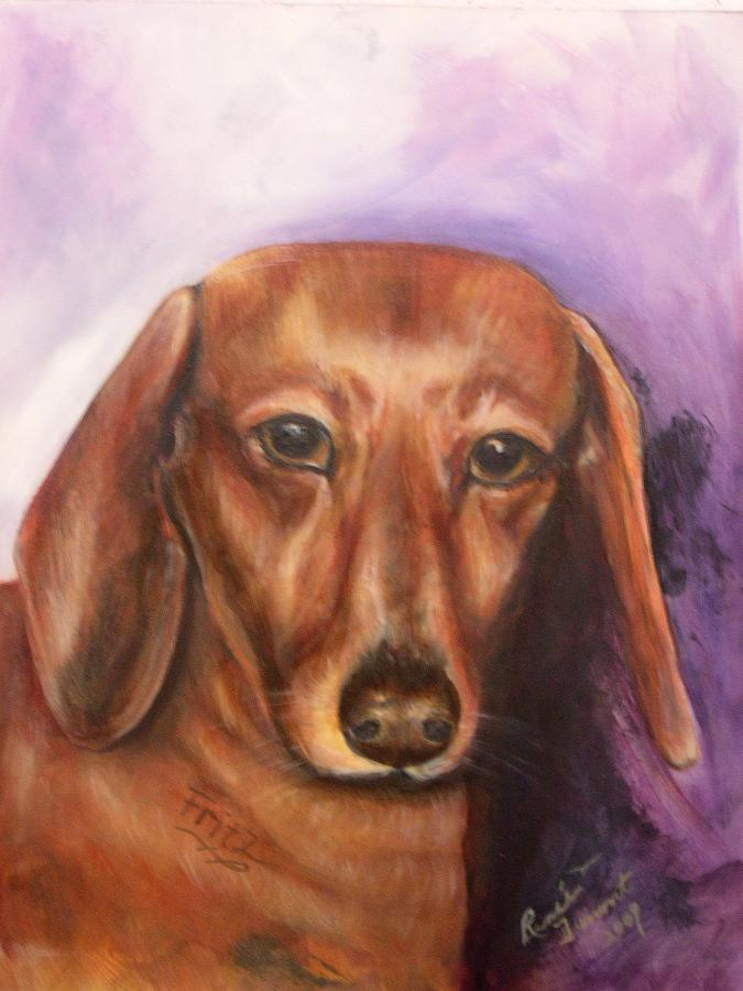 Pet Portrait Painting - Portrait Of Fritz - Commissions Accepted by Renee Dumont  Museum Quality Oil Paintings  Dumont