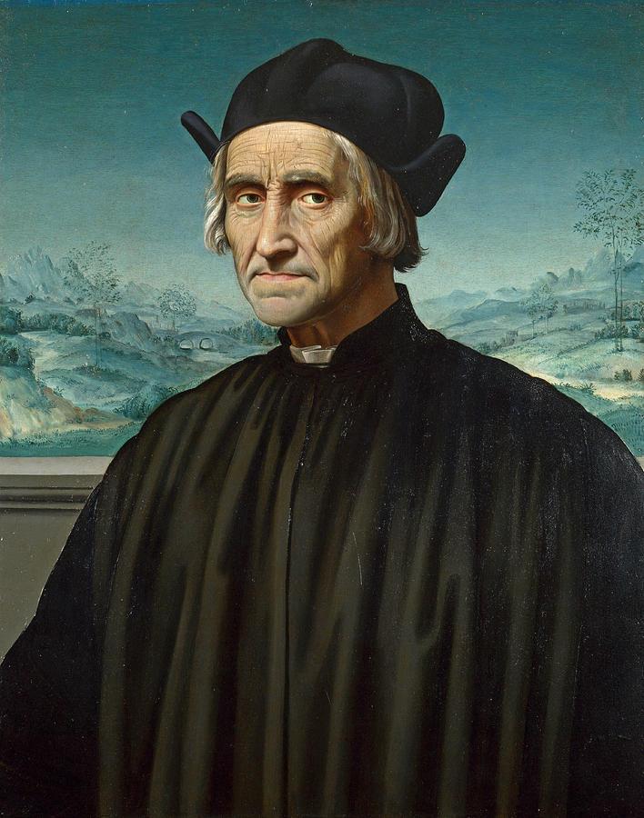 Italian Painting - Portrait Of Girolamo Benivieni by Attributed to Ridolfo Ghirlandaio