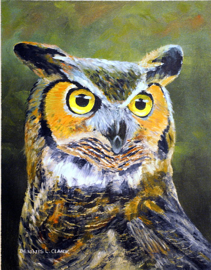 Owl Pastel - Portrait Of Great Horned Owl by Dennis Clark