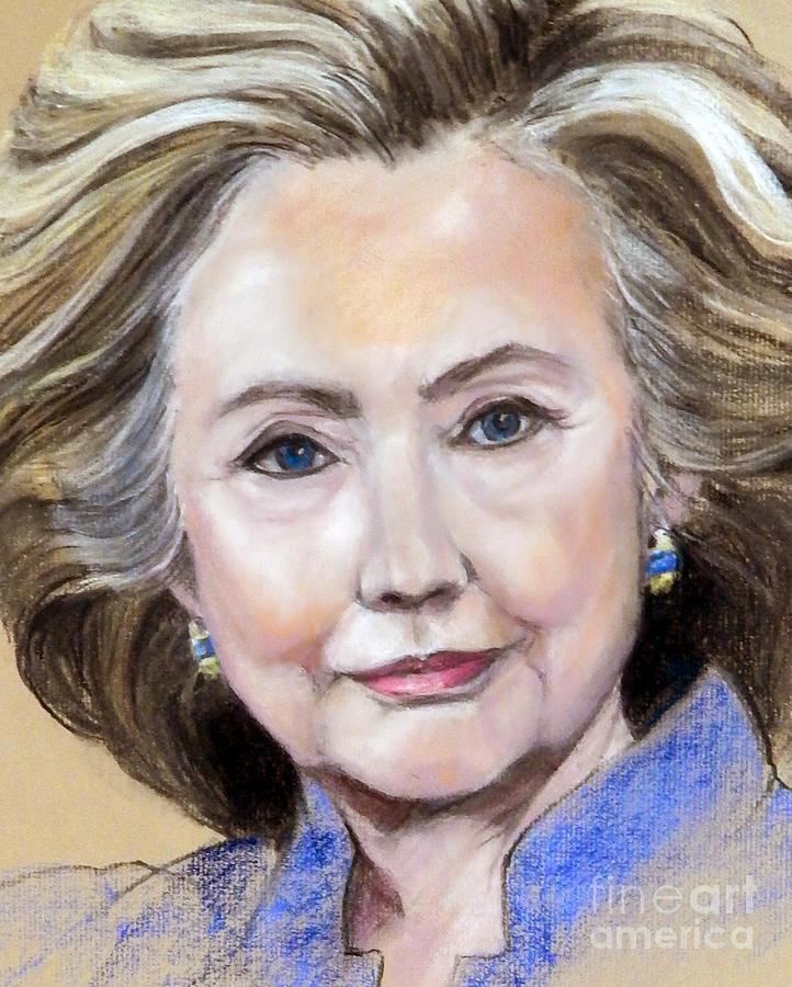 Painted Portrait Painting - Pastel Portrait Of Hillary Clinton by Greta Corens
