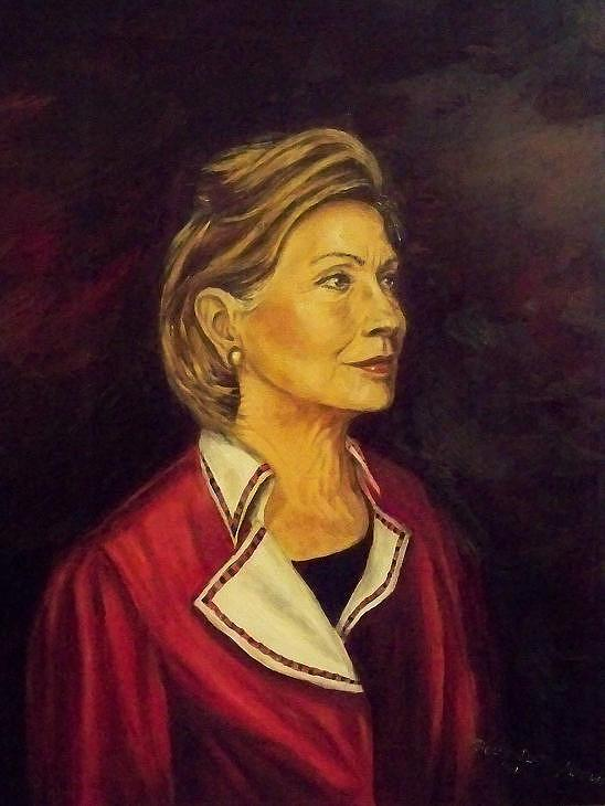 Sec.of State Painting - Portrait Of Hillary Clinton by Ricardo Santos-alfonso