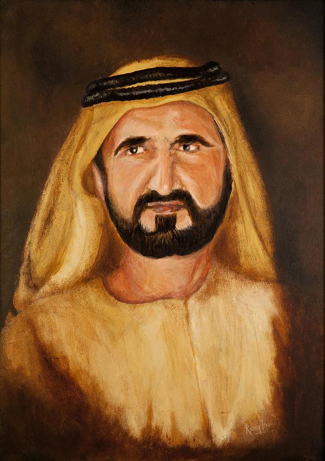 Portrait Painting - Portrait Of His Highness Sheikh Mohammed Bin Rashid Al Maktoum - Ruler Of Dubai by Remy Francis