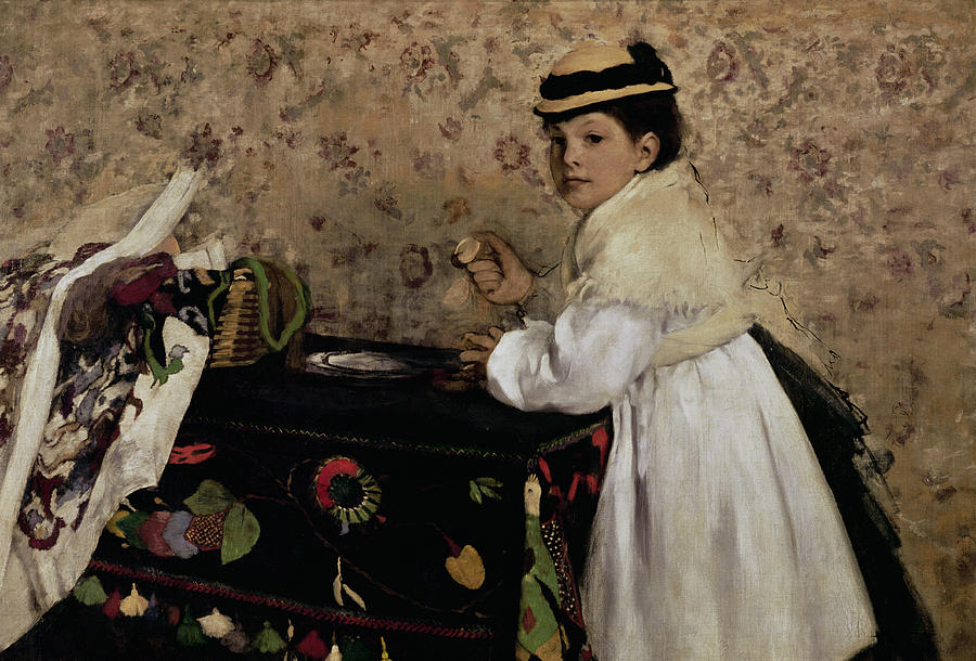 Degas Painting - Portrait Of Hortense Valpincon As A Child by Edgar Degas