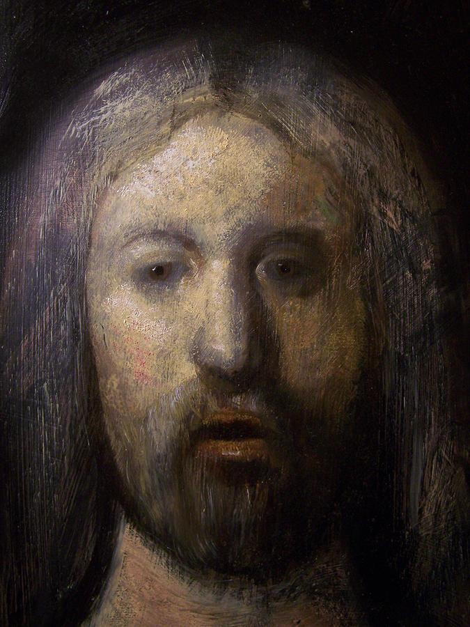 Realism Painting - Portrait Of Jesus Christ Detail by Derek Van Derven