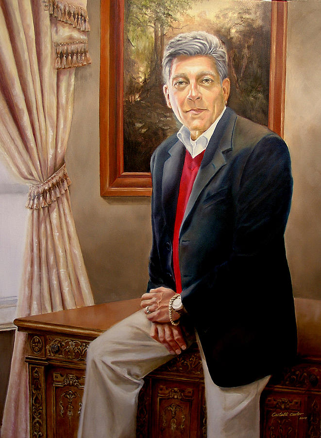 Interior Painting - Portrait of Joe Miraglia by JoAnne Castelli-Castor