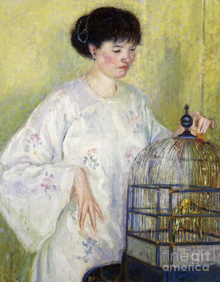 Bird Cage Painting - Portrait Of Madame Frieseke by Frederick Carl Frieseke