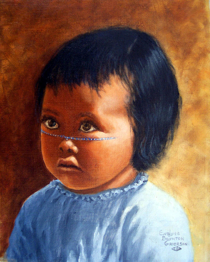 Portrait Painting - Portrait Of Marias Baby A Seri Indian by Evelyne Boynton Grierson
