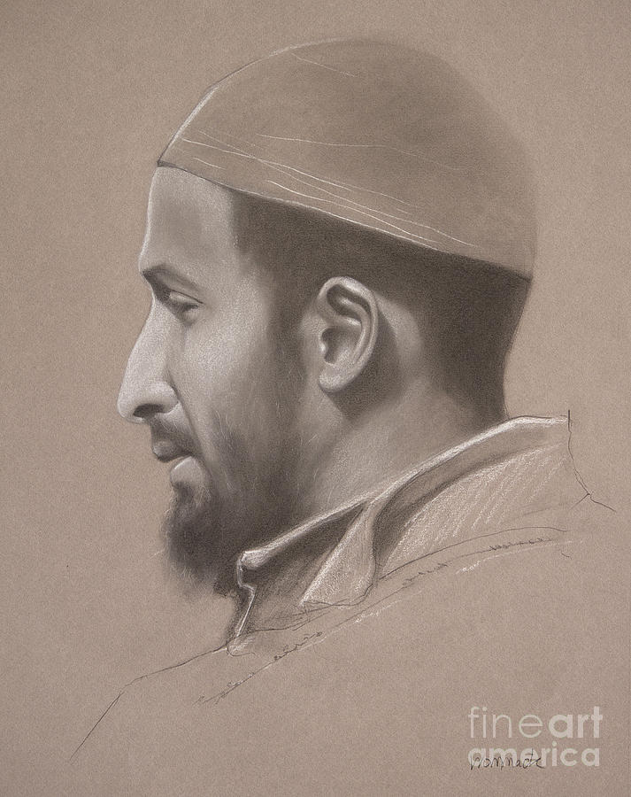 Graphite Drawing - Portrait of Muslim Man by Jonathan Wommack