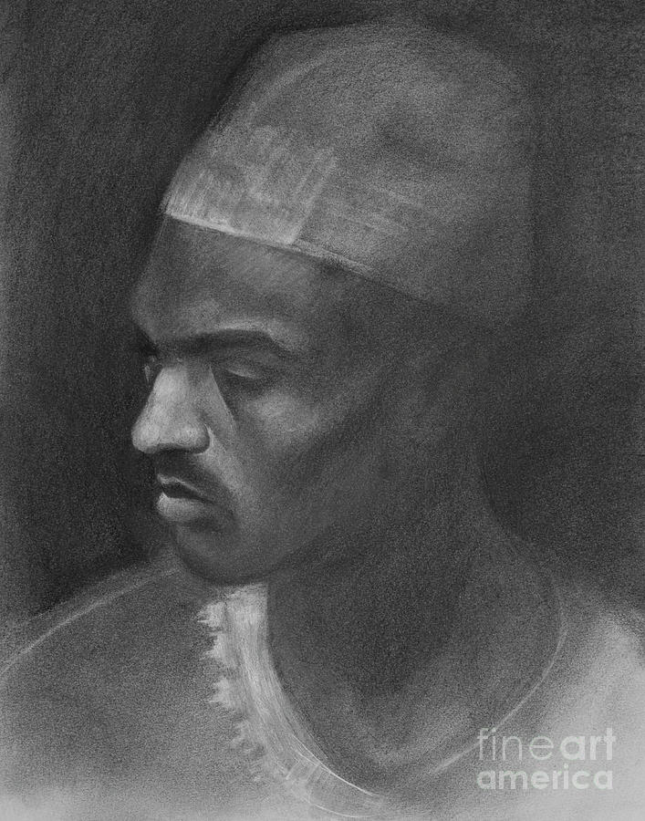 Charcoal Drawing - Portrait of North African Man by Jonathan Wommack