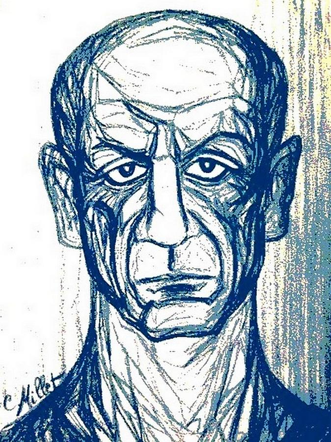 Pablo Picasso Drawing - Portrait Of Pablo Picasso In Blue by Cindy MILLET