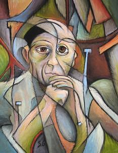 Portrait Of Picasso Painting by Steve Gribben