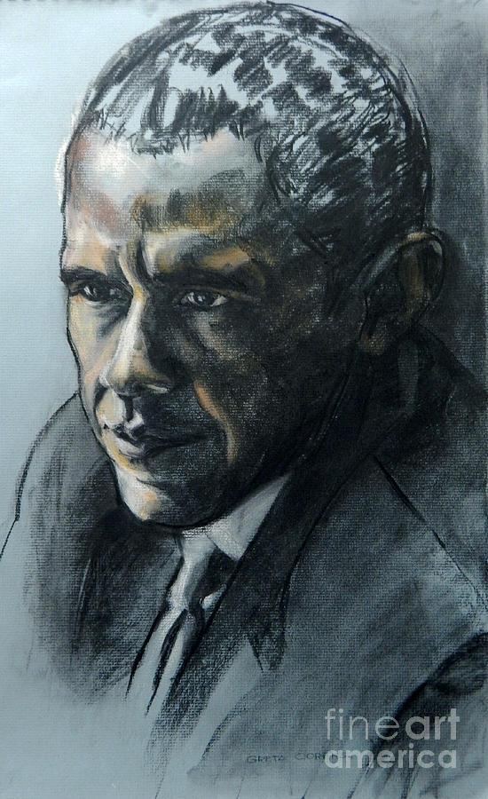 Portrait Of Obama Painting - Charcoal Portrait Of President Obama by Greta Corens