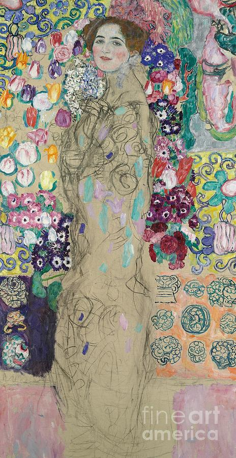 Female; 1910s; Symbolist; Viennese; Austrian Secession; Bright;colourful; Full Length; Standing; Smiling; Flowers; Pattern; Happy; Happiness; Drawing Painting - Portrait Of Ria Munk IIi by Gustav Klimt