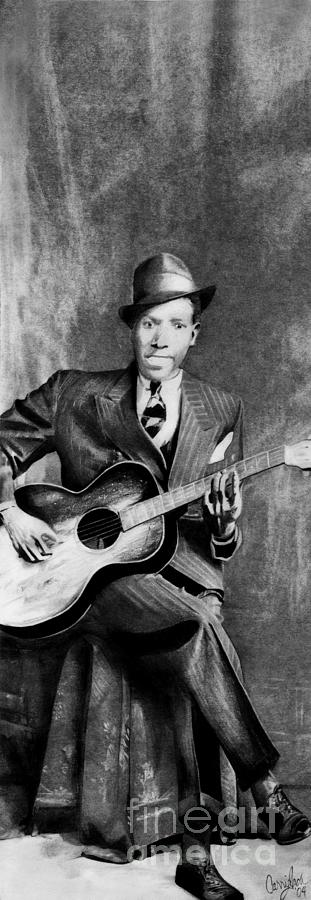 Robert Johnson Drawing - Portrait Of Robert Johnson by Carrie Jackson