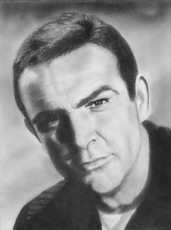Actor Drawing - Portrait Of Sean Connery by Nicole I Hamilton