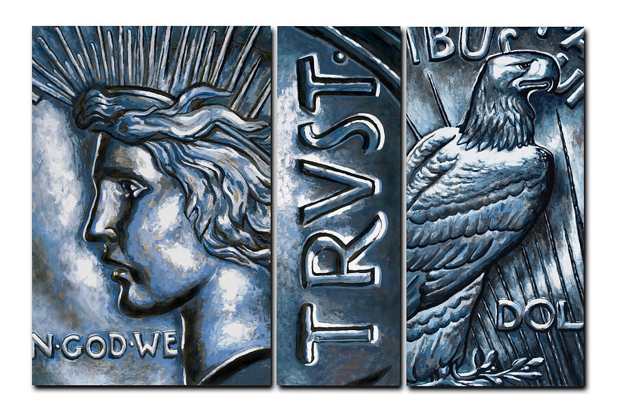 Liberty Painting - Portrait Of The Peace Silver Dollar by Kimberly Godinho