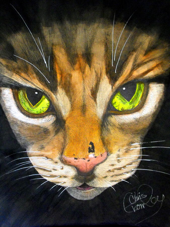 Tigger Painting - Portrait Of Tigger by Chris Crowley
