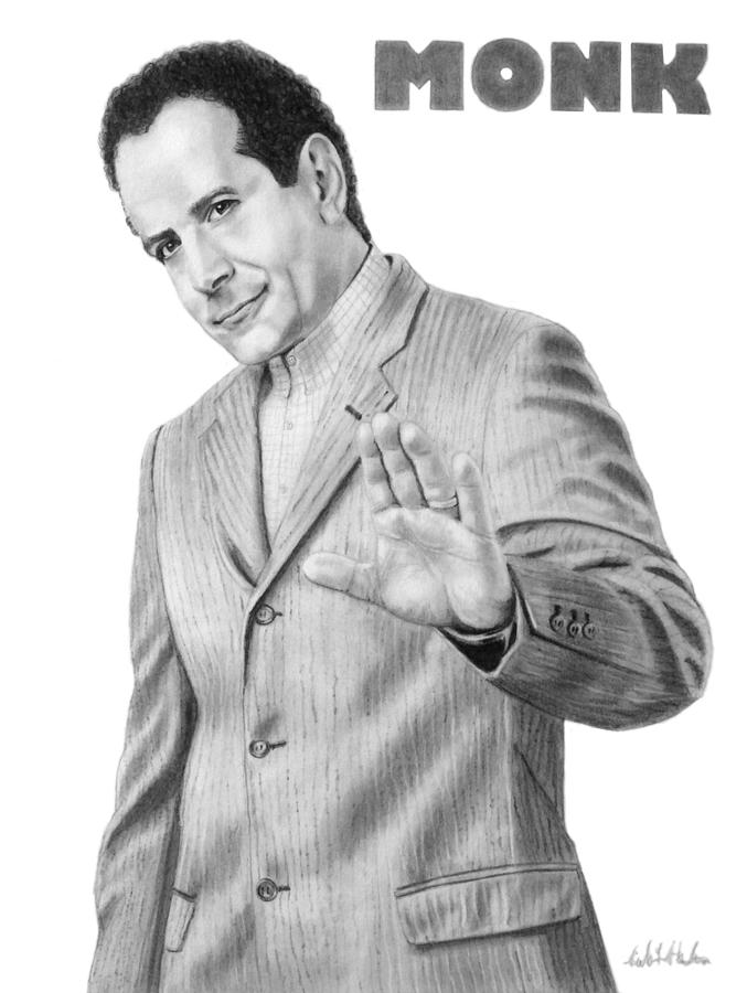 Monk Drawing - Portrait Of Tony Shalhoub As Adrian Monk by Nicole I Hamilton