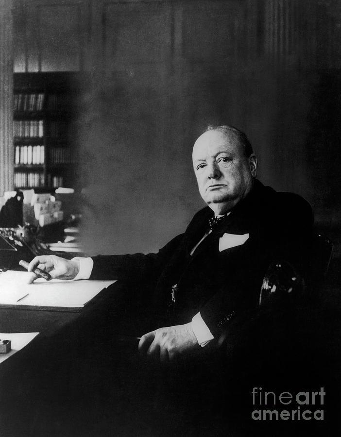 Desk Photograph - Portrait Of Winston Churchill  by English School