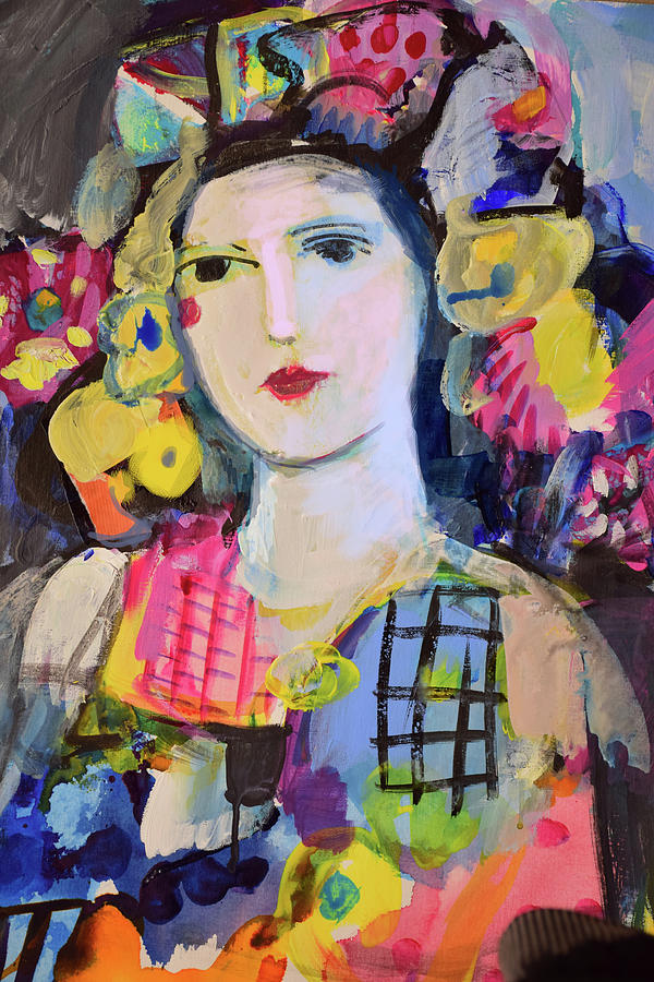 Painting Painting - Portrait Of Woman With Flowers by Amara Dacer