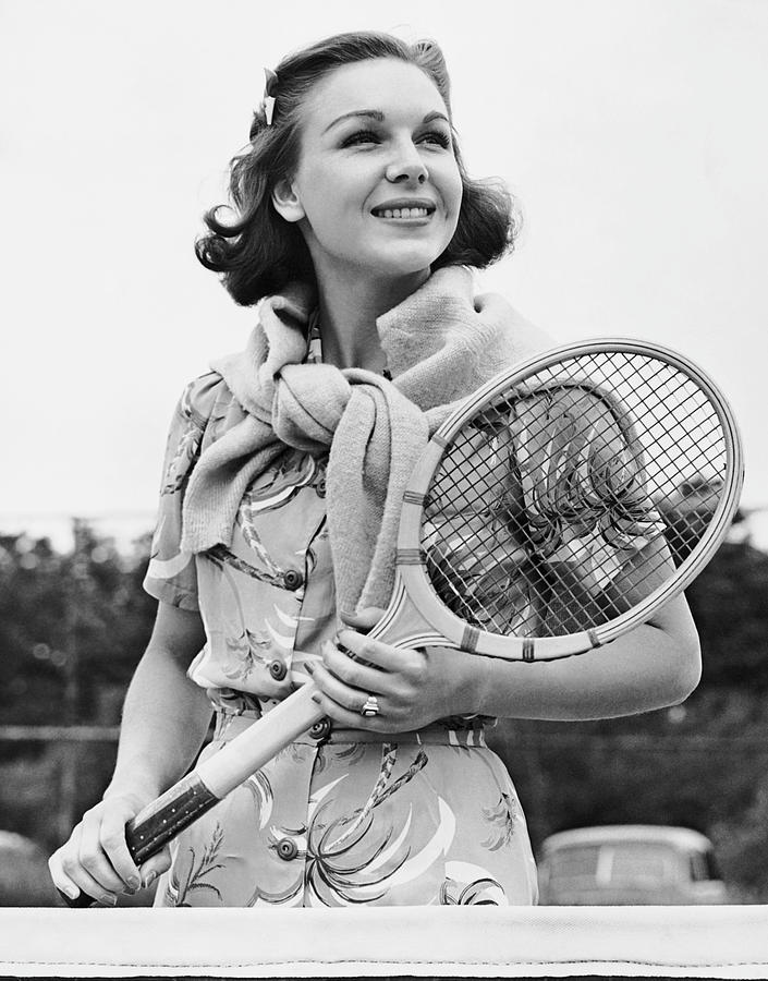 Adults Only Photograph - Portrait Of Woman With Racquet On Tennis Court by George Marks