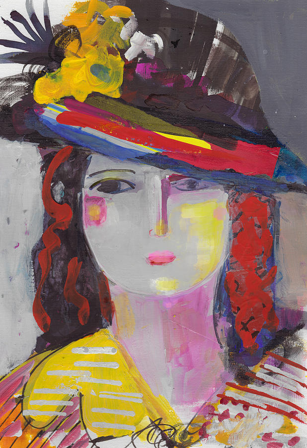 Portrait Painting - Portrait Of Woman With Vintage Hat by Amara Dacer
