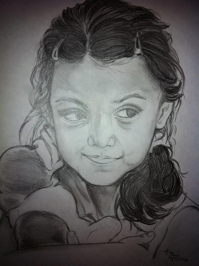 Portrait- Vidhi Drawing by Aradhana Pandey