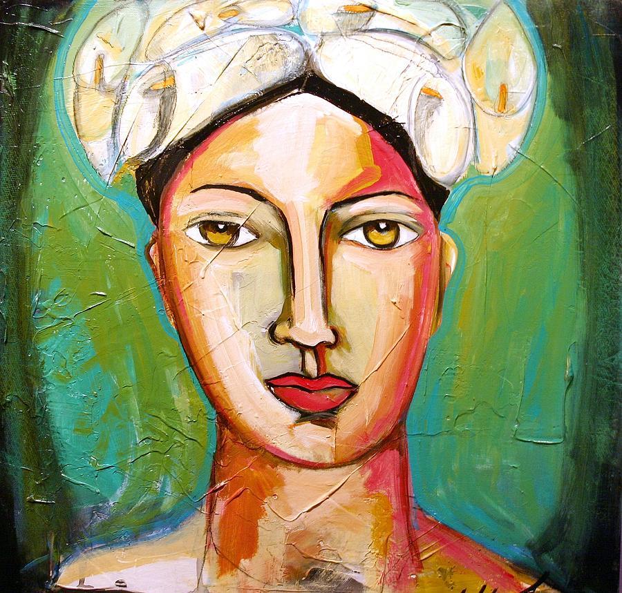 Figurative Painting - Portrait with Calla Hat by Yolanda Gonzalez