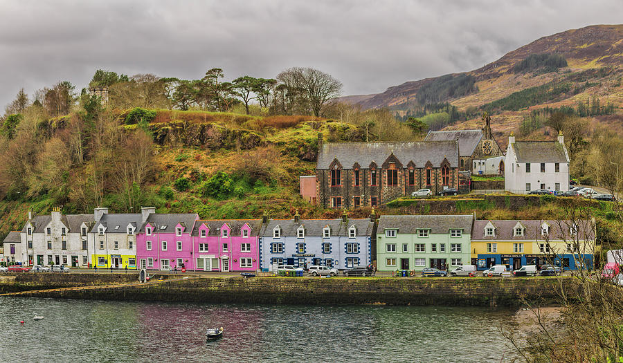 Rain Photograph - Portree Harbour by Mike Herdering