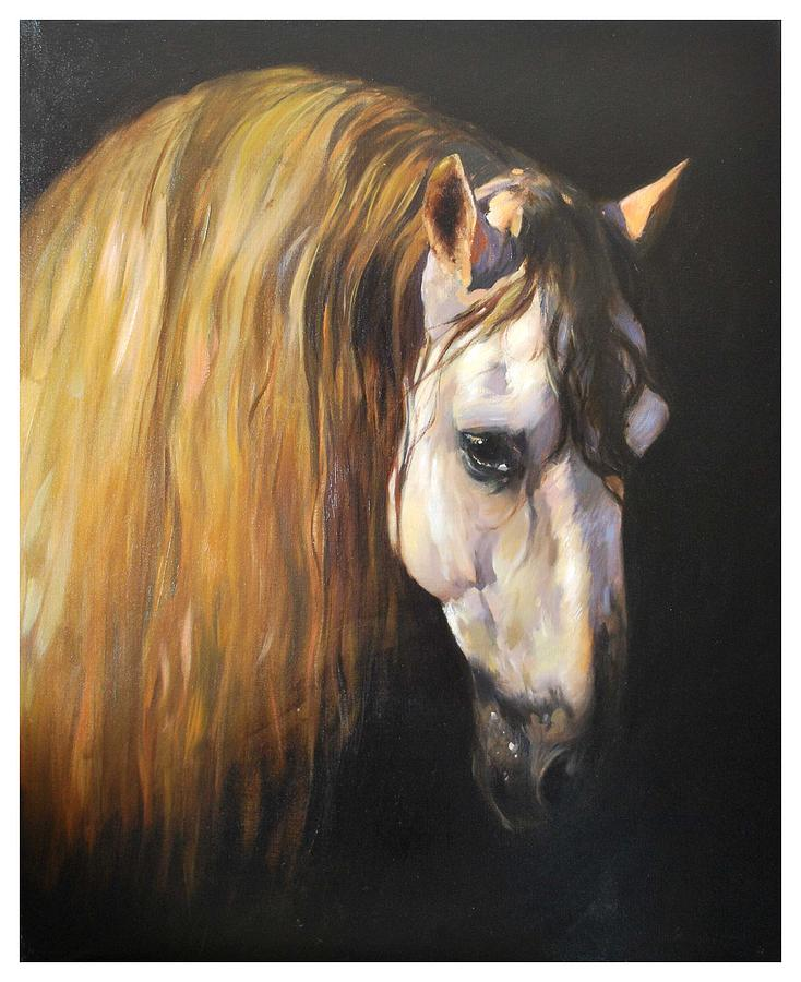 Horses Painting - Portret Of A Horse by Manuel Garcia